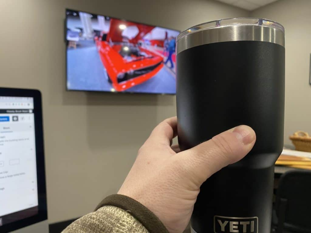 this is a picture of a yeti tumbler taken to illustrate my recommendation of a yeti cooler