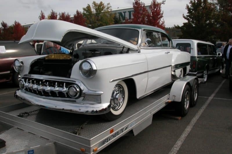 this is a picture of a restomod in an open car trailer
